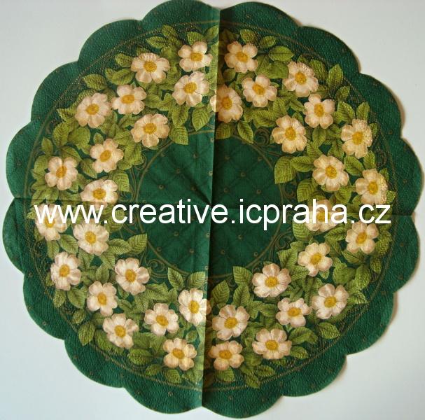 růže šípkové bílé na zelené - kulatý