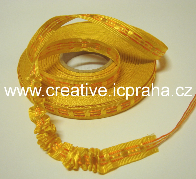 Stuha rypsová - 12mm stahovací žlutá
