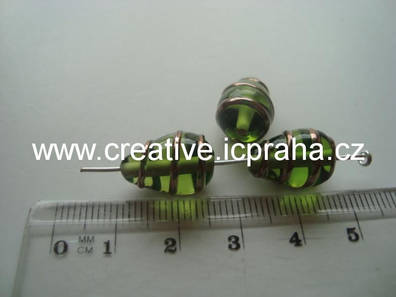 hruška zelená se spirálkou 50007 15x10mm