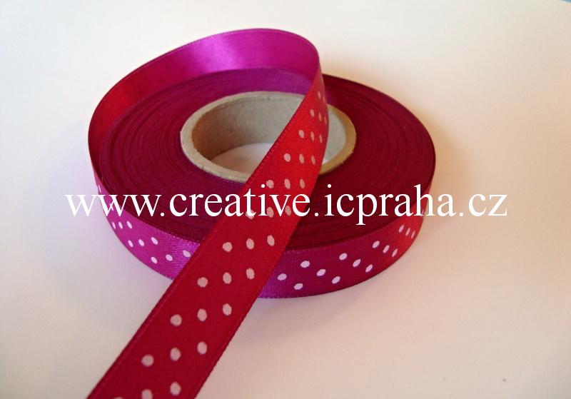 Stuha  atlas - 15mm růžová tm. puntíky
