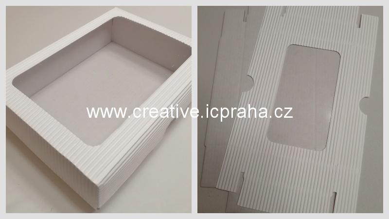 krabička s průhledem - 19x14,5x5/3,5cm bílá