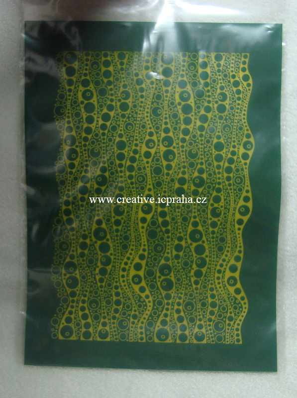 Silk screen šablona - vlnky a kolečka S04