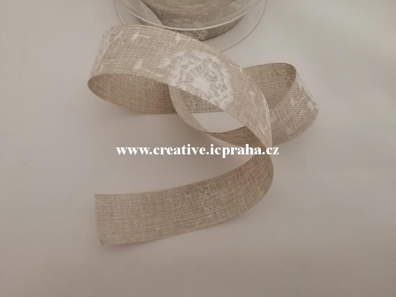 Stuha potisk pampelišky 25mm -natur