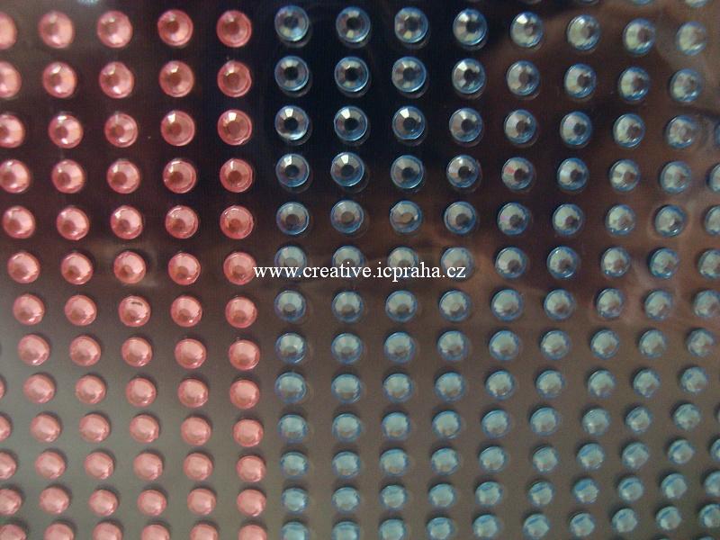 kamínky samolep. - modrá/růžová 3mm 1080ks