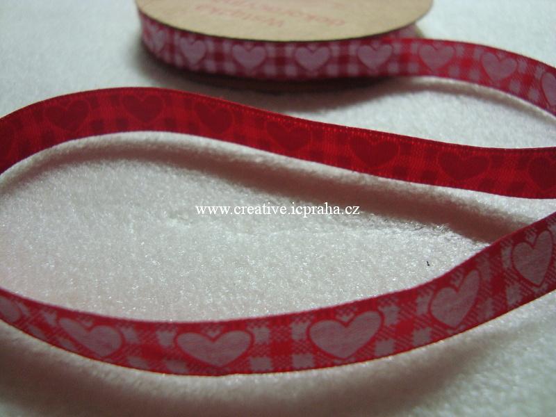 Stuha srdce - 10mm - červenobílé káro