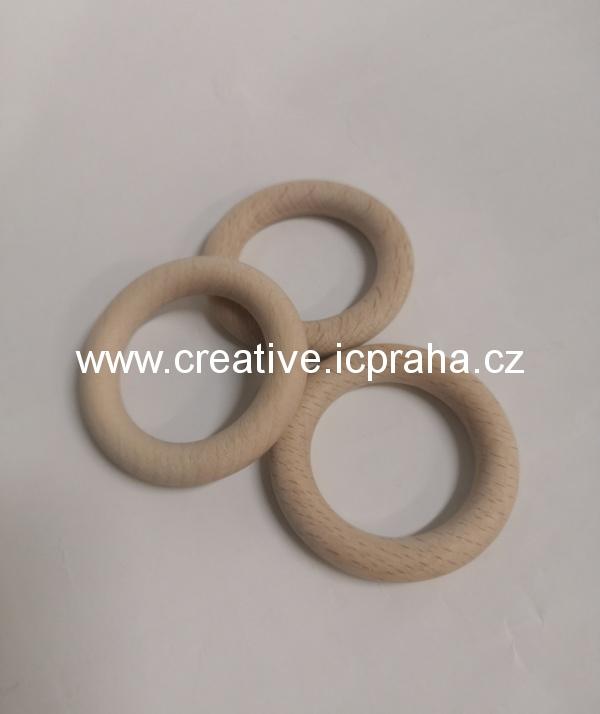kroužek dřevěný - přírodní 55mm