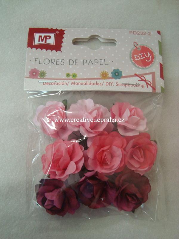 kytičky růže - oranžová,červená 9ks PD233-2a