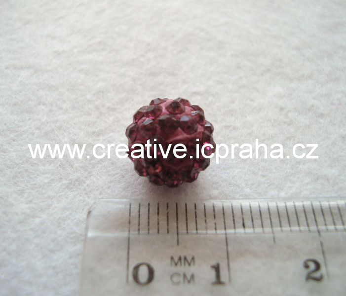 kulička se šatony 10mm - fuchsie 19