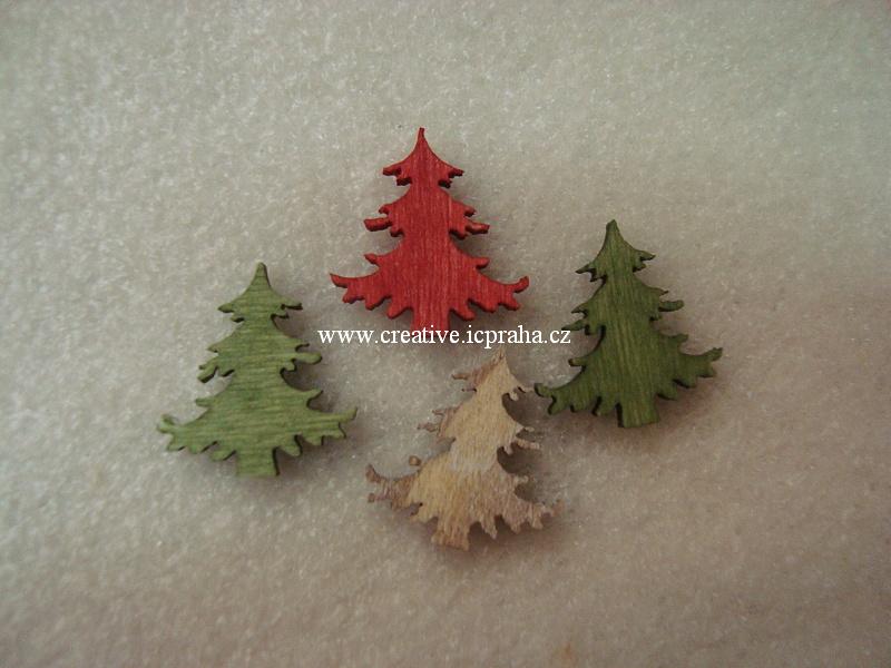 dřevo - stromečky 2cm barvy bal. 4ks A3818