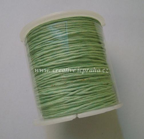 Povoskovaná šňůrka, zelená mátová 1mm /1m