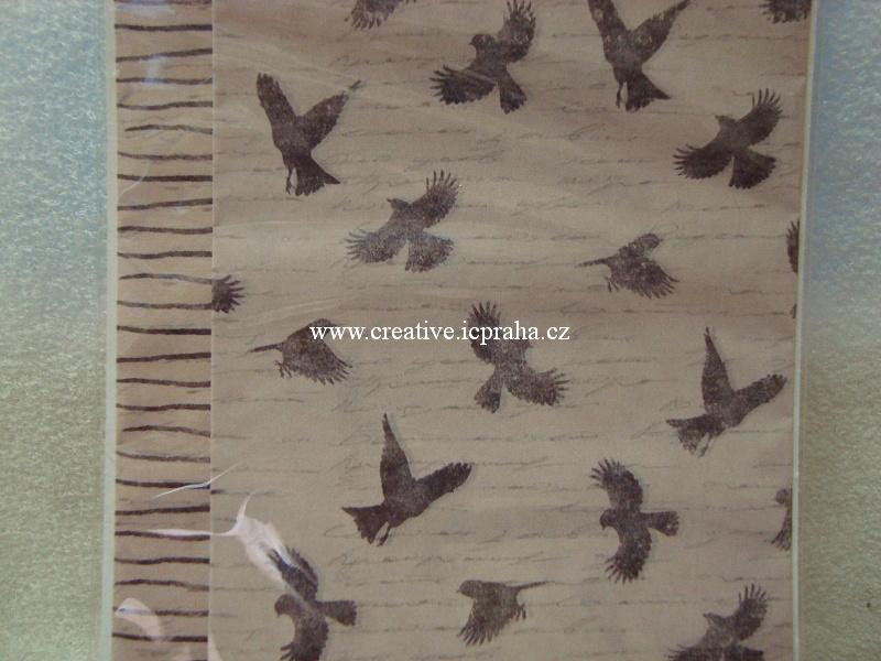 decu papír Ptáčci a proužky18,8 x35cm 4ks 035