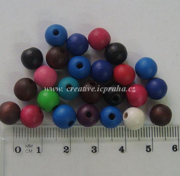 dřevěné korálky 8mm bal.25ks MIX barev