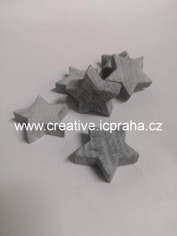 dřevo - hvězda 3cm šedá