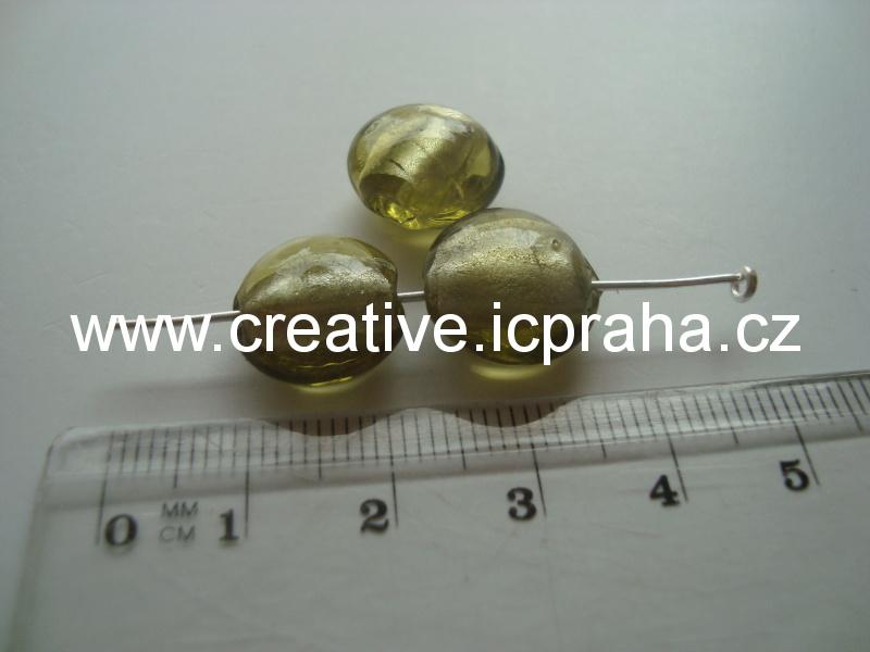 oválek se stříbrem 13mm olivine