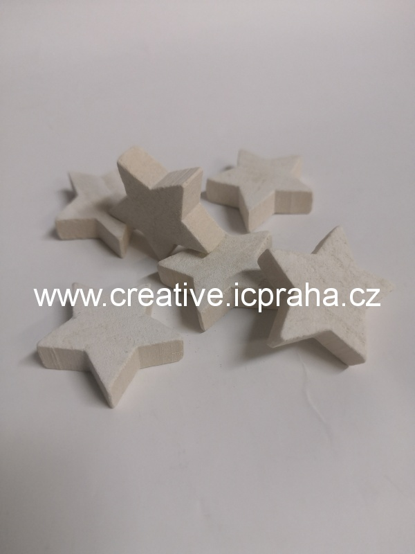 dřevo - hvězda 3cm - bílá