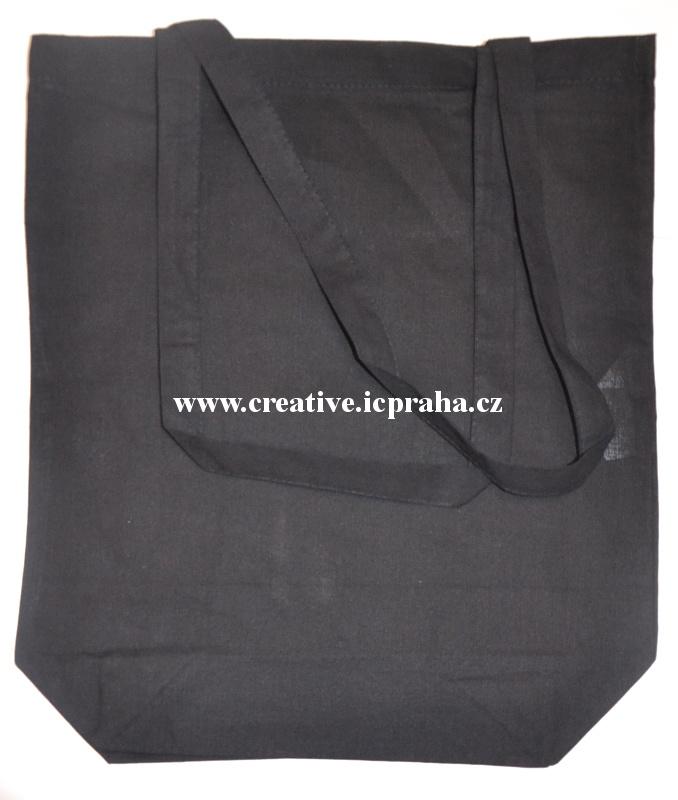 bavlněná taška 38x42x11,5cm - černá  dl. ucho/dno
