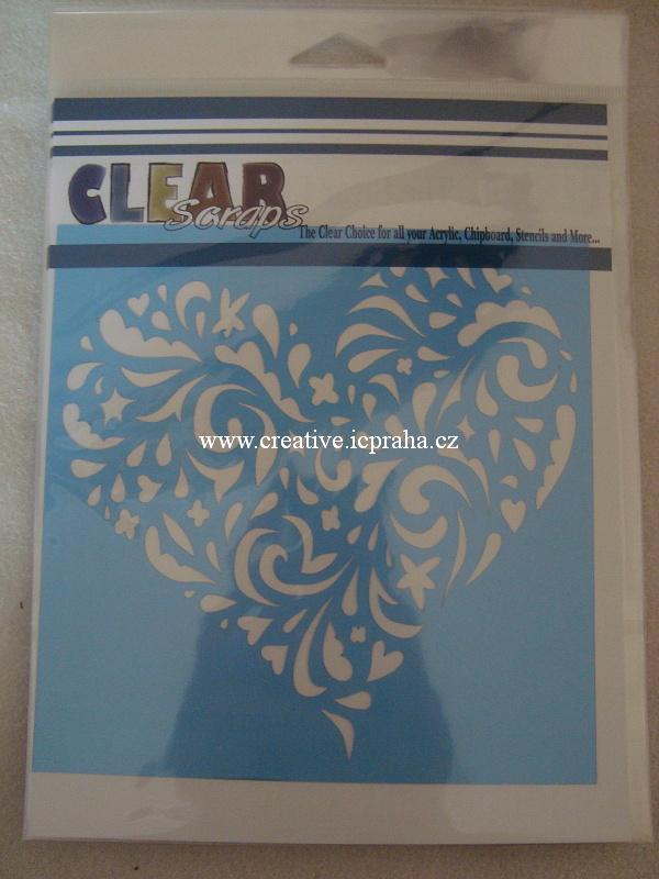 šablona CLSc - srdce kudrlinkové 15x15cm 538501
