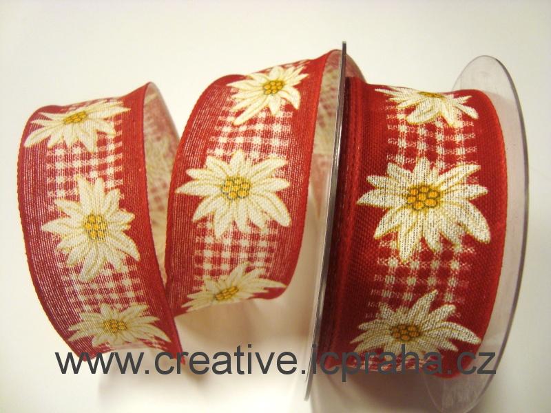 stuha-drátek-červená/bílá ván.hvězda + kost. 40mm