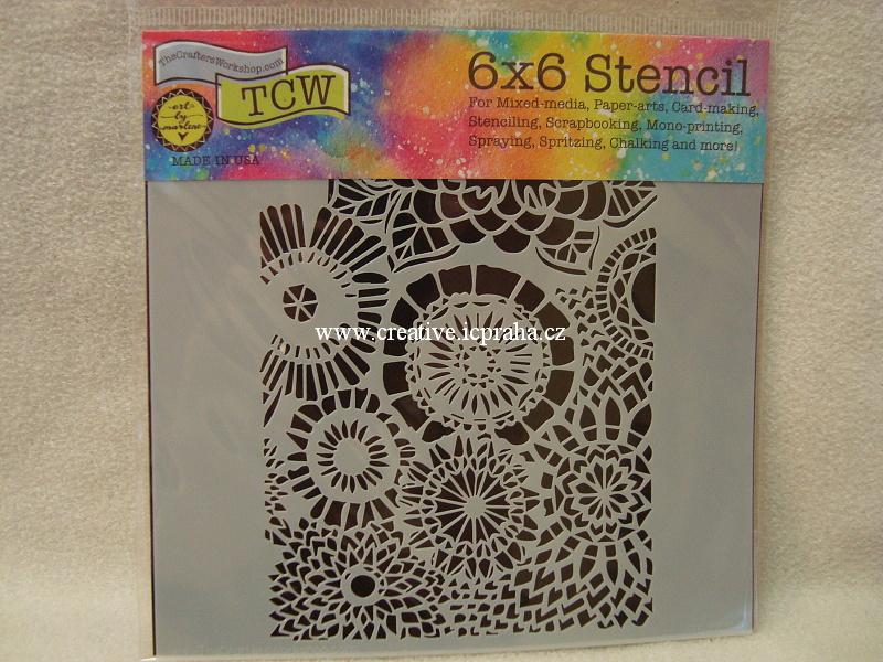 šablona plast TCW 15x15cm Wallflowers 839