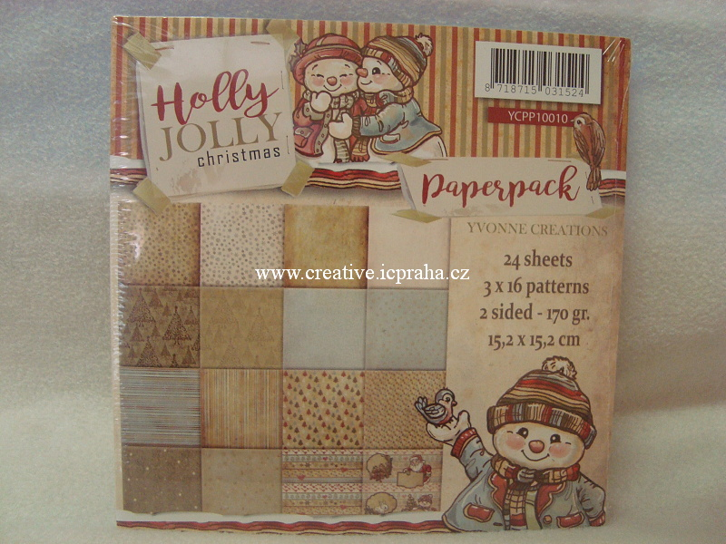 Yvonne Creations - Holly Jolly 15x15cm 24ks