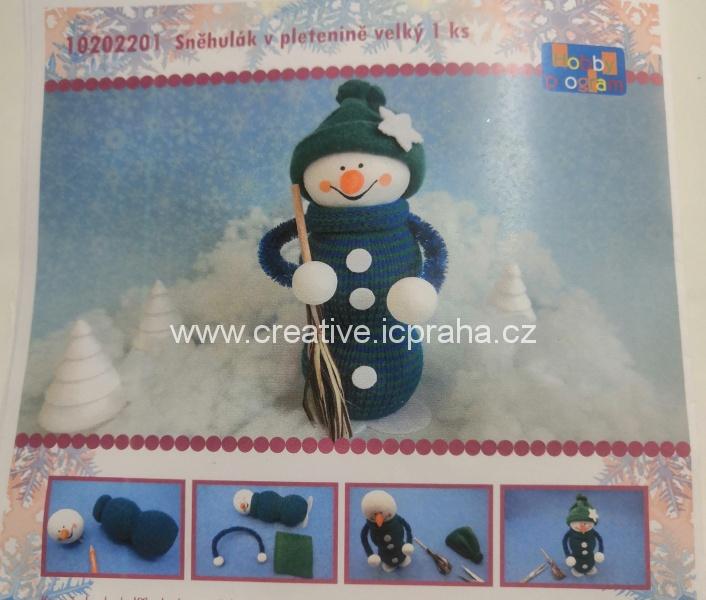 skládačka sněhulák v pletenině 17cm 10202201