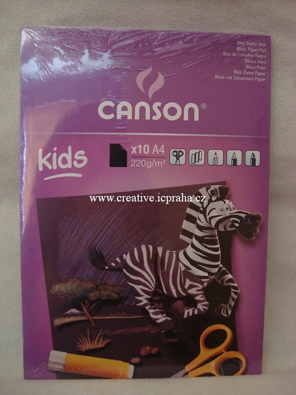 skicák A4 CANSON 220g/10listů černá