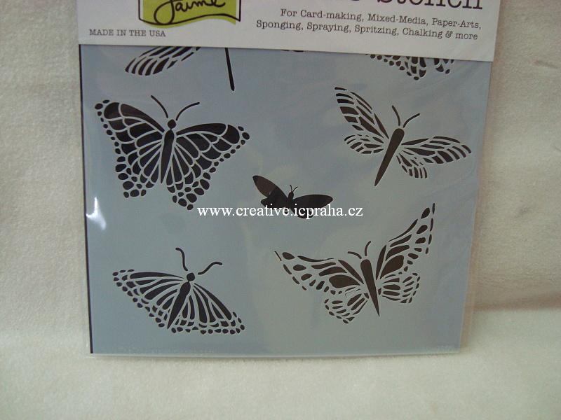 šablona plast TCW 15x15cm Motýlci 260s