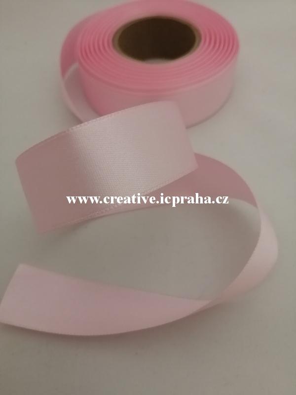 Stuha  atlas - 24mm/10m růžová