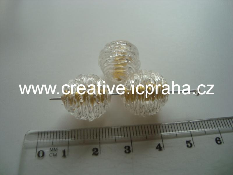 ručně vinutá dutá perle/zlato kulička 16mm 00030