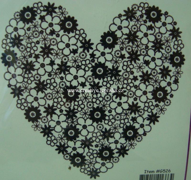razítka Cling - Srdce z květin G526