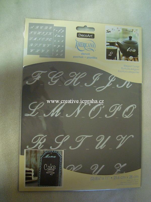 šablona plast DA 21,6x28cm - Písmo Elegant