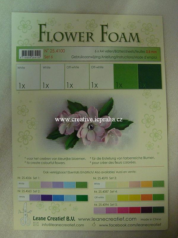 pryž na výrobu květin A4 - 6ks sada č.6 bílo-zelen