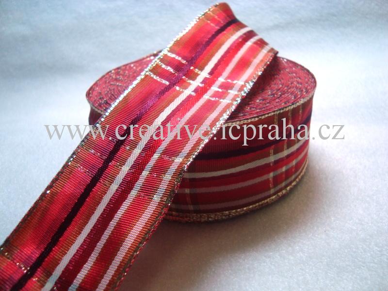 stuha-drátek-proužky 40mm červená