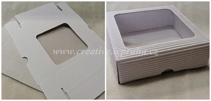 krabička s průhledem - bílá 12x12x3,5cm