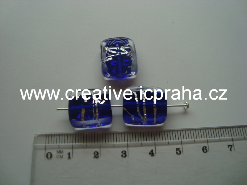 placka čirá/modrá/stříbro 48032 14x11mm