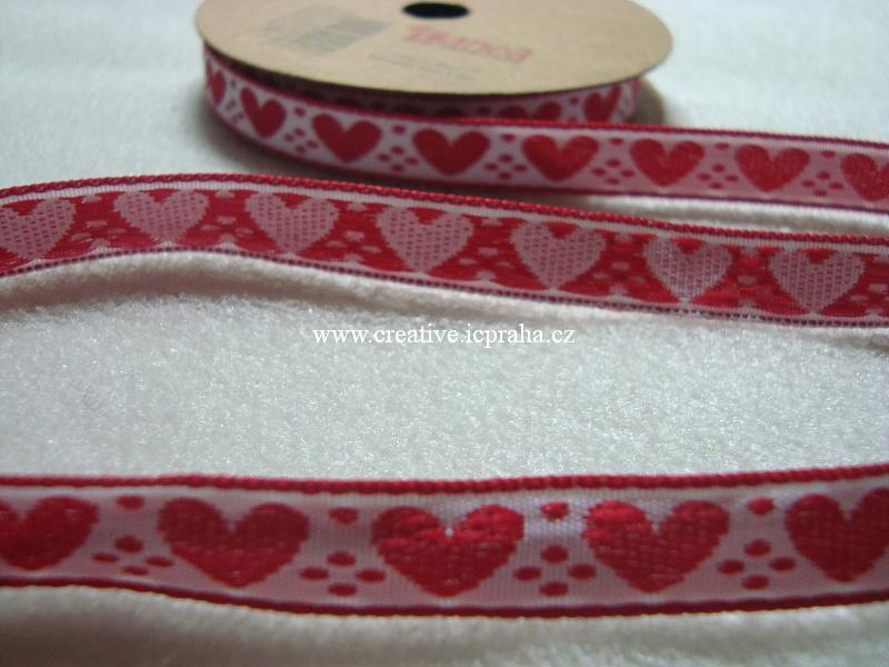 Stuha srdce - 10mm - bílá+červená