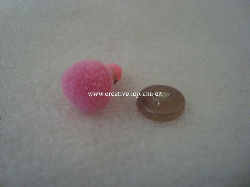 čumáček bezpečnostní samet 11x14mm - růžový