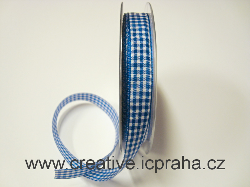 Stuha  kostka - 15mm modrá