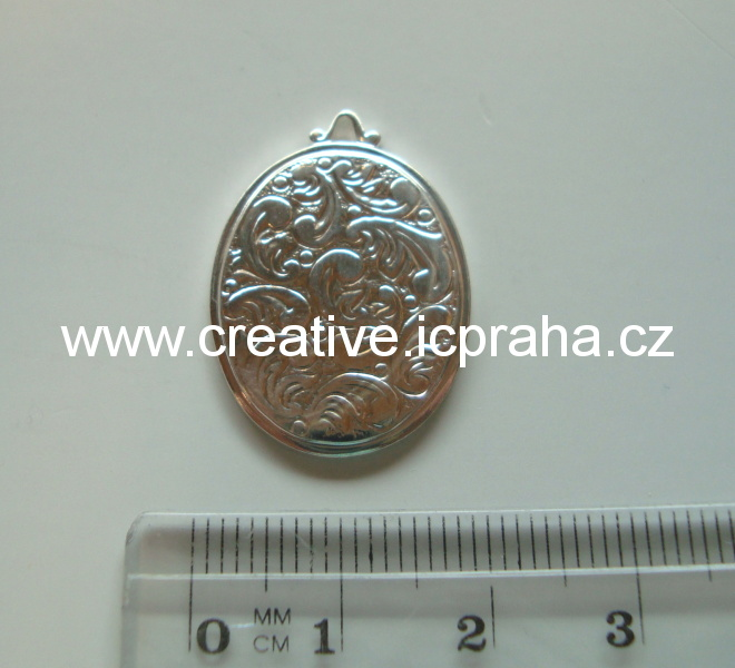 Přívěšek oval bez šatonu 25x20mm