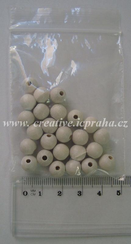 dřevěné korálky 8mm bal.25ks bílá