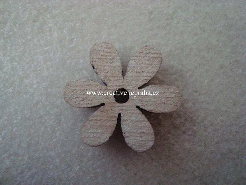 dřevo - kytka sedmikráska 2,5cm - vintage
