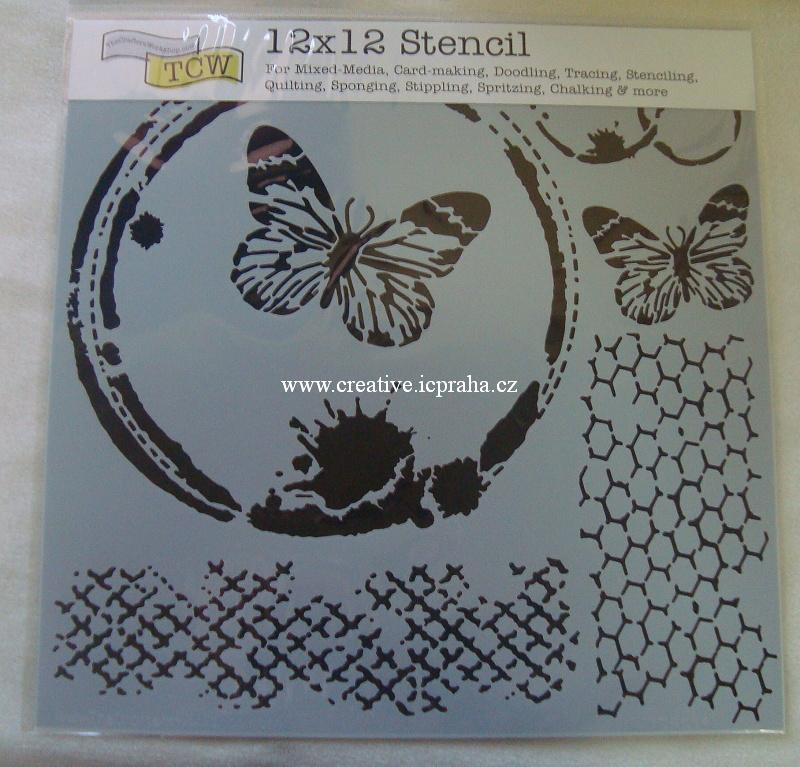 šablona plast TCW 30x30cm Motýlí koláž 554