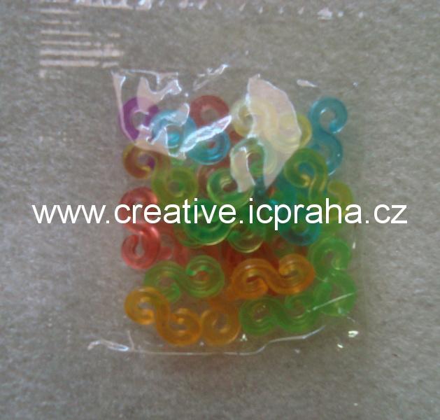 gumičky Loops- zapínání 25ks barevné transp.11x5mm