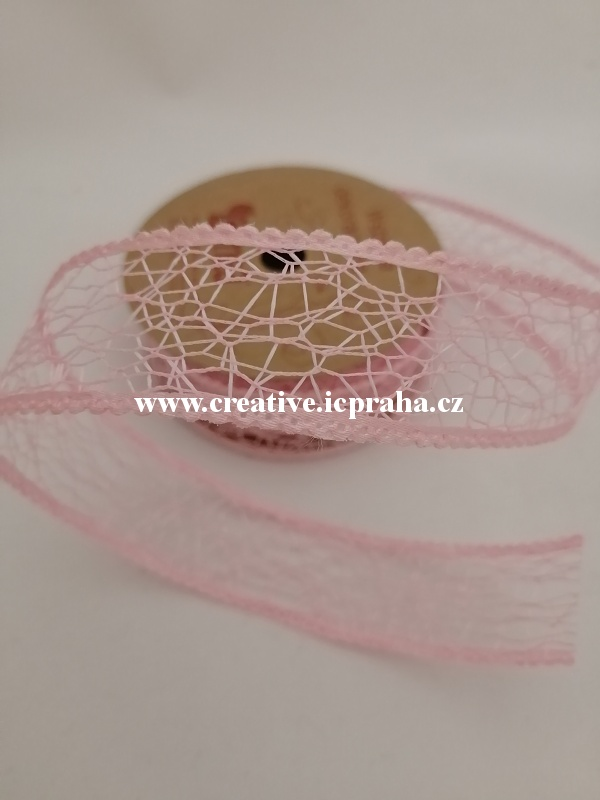 stuha- 25mm pavučinka růžová