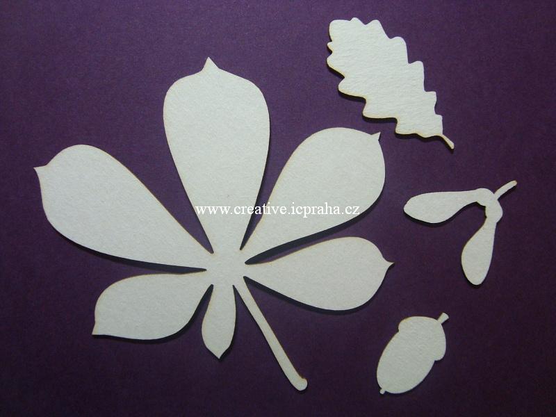 výřezy podzim listy+ kaštany,žaludy 23ks 2-8cm