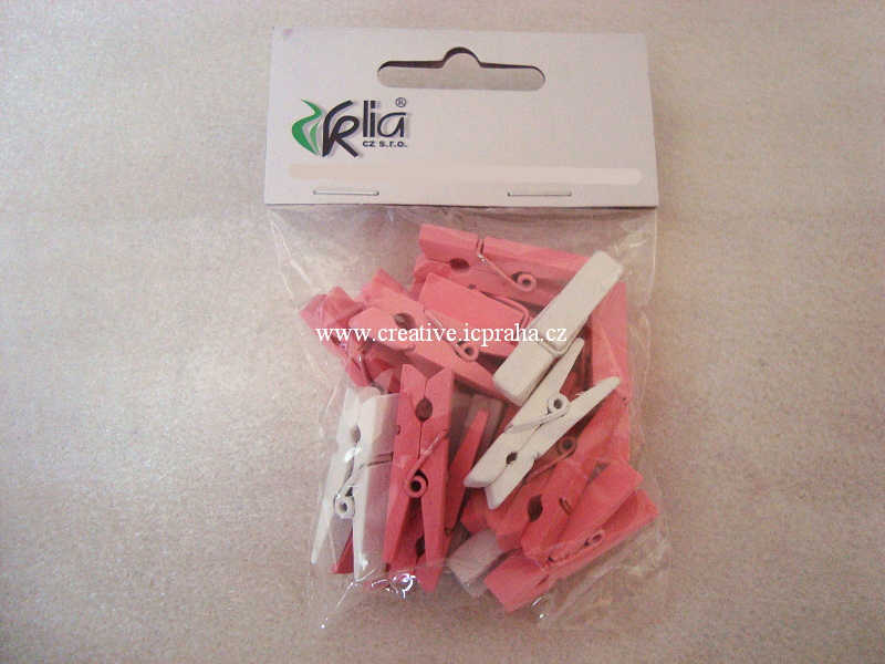 kolíček 3,5cm - mix růžová/bílá 18ks