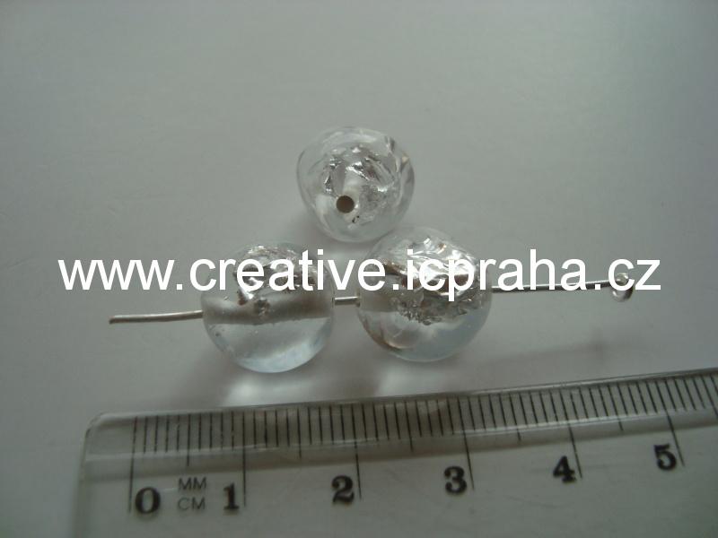 vinutá perle čirá/stříbro kulička 10mm