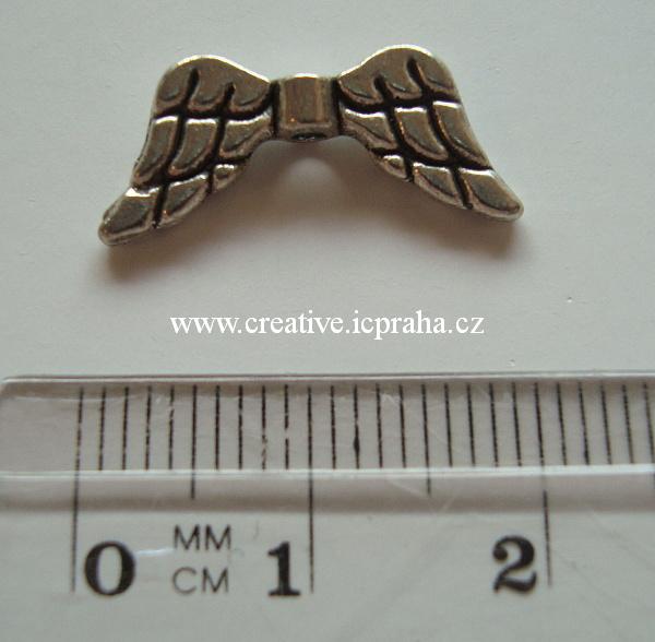 křídla - anděl  7x15mm vroubkovaná pl.
