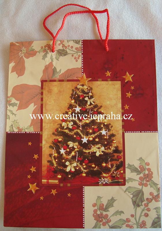dárková vánoční taška velká stromek