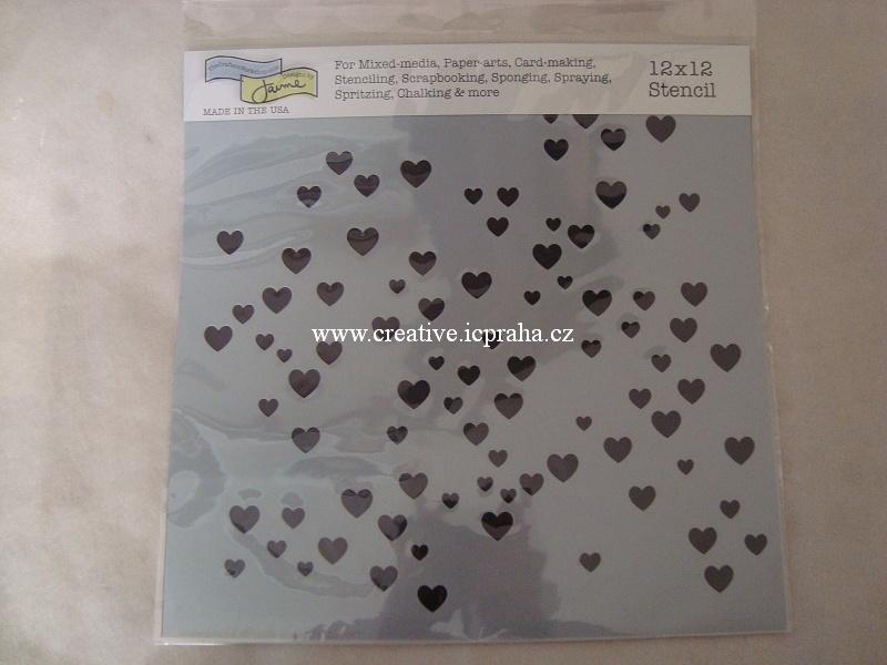 šablona plast TCW 30x30cm Srdíčka mikro 791